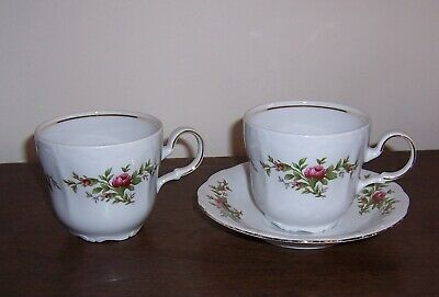2 Coffee Cups & 1 Saucer (More Avail) - MOSS ROSE Johann Haviland Traditions