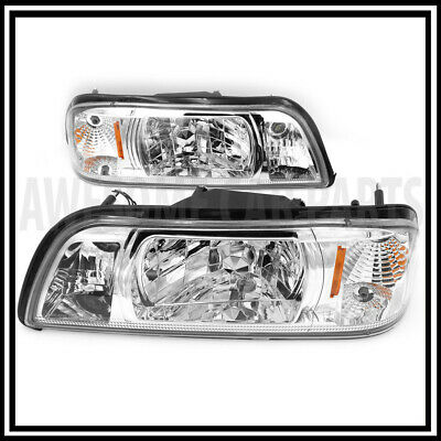 1 Piece Headlights Chrome Housing Amber Reflector For 87-93 Ford Mustang