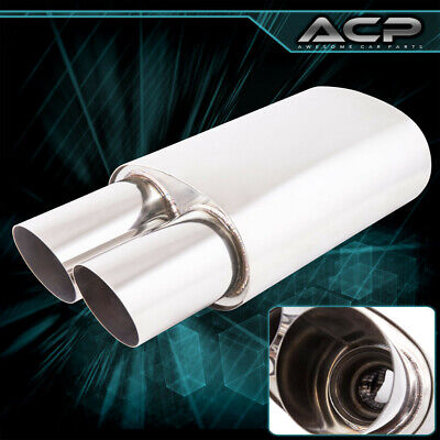 """Weld on EURO 2.5/"""" Inlet Canister Muffler Exhaust Resonator Chrome Dual 3/"""" Tips"""