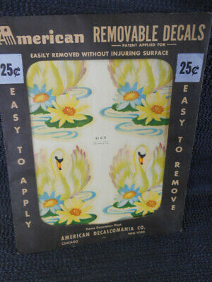 Vintage SWANS & LILY PADS DECALS American Decalomania Co 410-D