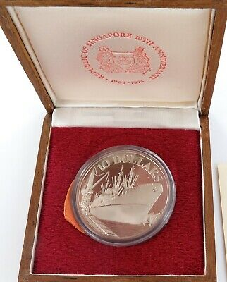 .1975 Singapore $10 50% Silver Commemorative Coin + Coa + Box.