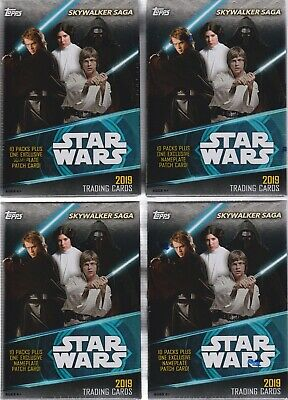 (4) 2019 Topps Star Wars SKYWALKER SAGA Trading Cards New 61c Blaster Box LOT