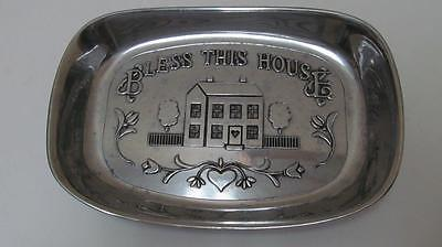 RWP Wilton Armetale Pewter Bless This House Bread Tray Serving Dish Mt. Joy PA.