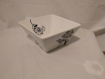 """6"""" Bowl Ceramic Square From The Food Network  White with A Black Flower On  Side"""