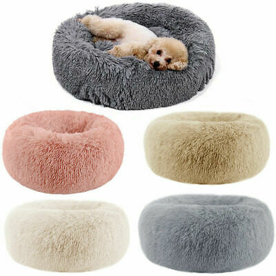 UK Pet Large Bed Mattress Fur Donut Pad Luxury Shag Warm Fluffy Dog Bed Nest Cat