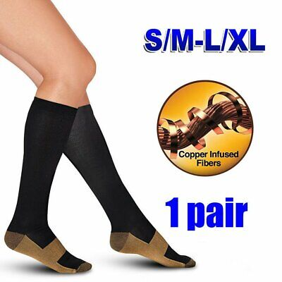 NEW Miracle Copper Compression Socks Anti Fatigue Travel DVT Comfort Stocking TU