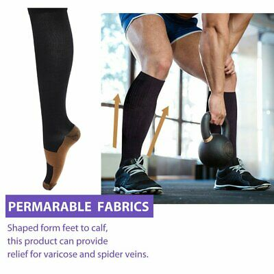 Miracle Copper Compression Socks Anti Fatigue Travel DVT Comfort Stocking HOT DD