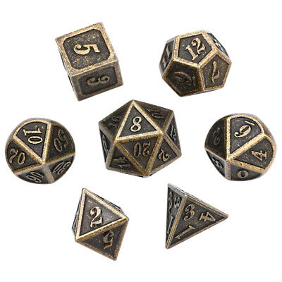 Antique Metal Polyhedral Dice DND RPG MTG Role Playing Game With Box 7Pcs/set