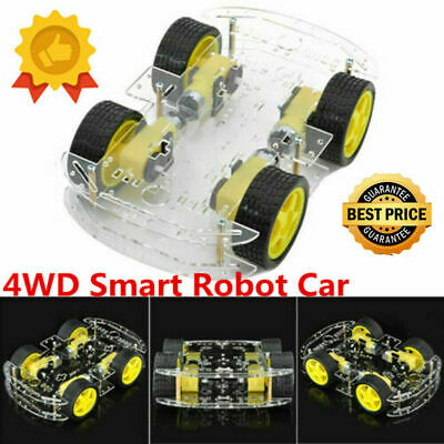 4WD DC Motor Smart Robot Car Chassis Kit Speed Encoder Battery Box for Arduino