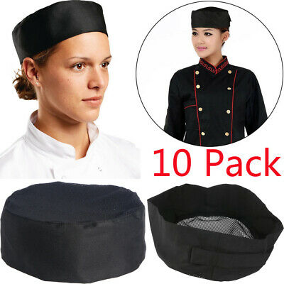 1-10pcs Hot Popular Pleated Chefs Catering Hat Cook Food Prep Kitchen Round Cap