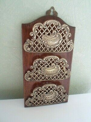 Antique Wood & Brass Letter Rack Reg No. 322500 - Ornate Shabby Chic Accessory