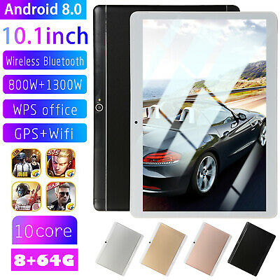 8GB+64GB 10.1 inch 4G Mobile Tablet PC Android 8.0 Ten Core 2xSIM GPS Wifi 3G