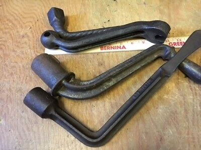 ANTIQUE lot large STOVE WRENCH TOOL HEATING old parlor homestead farm ranch neat