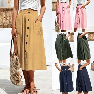 Women's Fashion Casual Button High Waist Hip With Pocket Long Skirt Casual Skirt