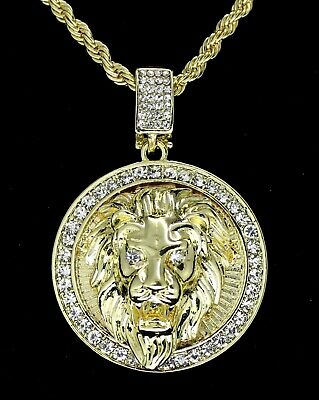 """Mighty Lion Mens Iced Cz Round Pendant 24"""" Chain 14k Gold Plated Hip Hop Jewelry"""