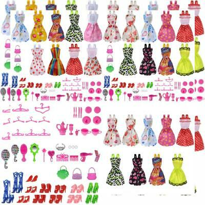 Total 50pcs -9 Pack Doll Clothes Party Gown Outfits +41pcs Different Doll...