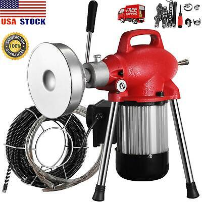 "3/4""- 4""Sectional Pipe Drain Auger Cleaner Machine Snake Sewer Clog 8Cutter 500W"