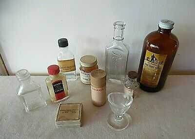 Lot/10 Vintage Antique Medicine Pharmaceutical Bottles