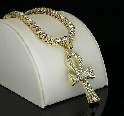 Ankh Cross Pendant Tennis Chain Set 14k Gold Plated Hip Hop Jewelry Necklace