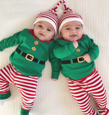 3Pcs Infant Baby Boys Girls Christmas Romper+Pants+Hat Outfits Set Clothes 8754