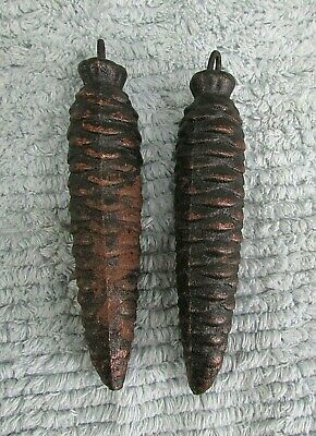 "Pair Old Pine Cone Cuckoo Clock Cast Iron Weights 11.9 oz ea 5""  320 ET FREE S/H"