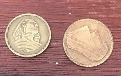 Egyptian coins The Sphinx & Pyramids 5 millims since 1954 & 1984 5 piasters