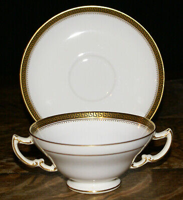 Minton Tiffany & Co. New York Gold Trimmed Cream Soup or Bouillon Bowl & Saucer