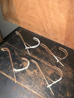 Lot 4 matched Vintage Bent Wire Coat Hat Clothes Hooks Twisted Old