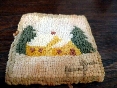 "Vintage 3.5"" x 3.5"" Artist Made Folk Hook Rug Dollhouse Miniature FROM MUSEUM"
