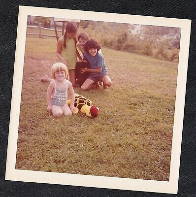 Antique Vintage Photograph Adorable Little Children Playing on the Lawn