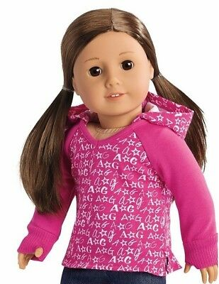 American Girl Doll Clothes PINK V-NECK HOODIE Sweatshirt  NEW no doll
