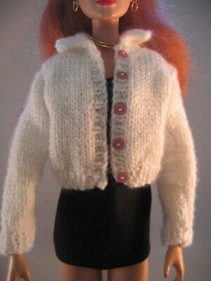 "Doll Clothes WHITE CARDIGAN SWEATER Hand Knit fit 16"" fashion doll as Tonner"