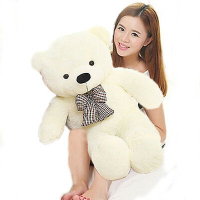 24'' Giant Stuffed White Huge Tie Teddy Bear Plush Soft Toys Animals Doll Gifts