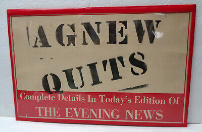 "Vintage 1973 ""Agnew Quits"" - The Evening News Newspaper Announcement Board!"