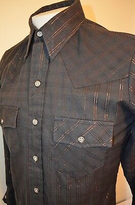 308 Collection Black Striped Disco Cowboy Western Rockabilly M Shirt VTG 70s 80s