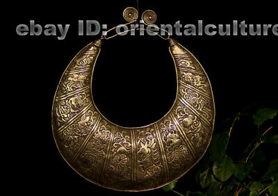 Vintage Exotic tribal chinese  handmade miao silver zodiac animals Necklace