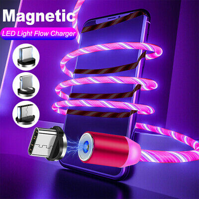 LED Glow Magnetic Fast Charging Cable For TypeC iPhone Micro USB Charger Cord