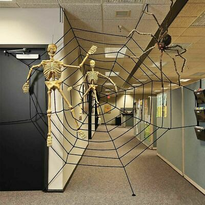 Giant 150cm 5ft spiders web cobweb halloween haunted house party decoration USA