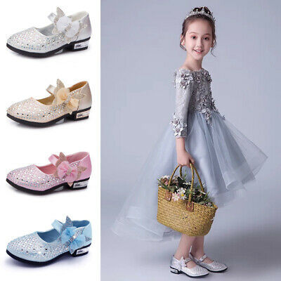 Kids Girls Sequin Bowknot Princess Sandals Diamante Wedding Party Dress Up Shoes