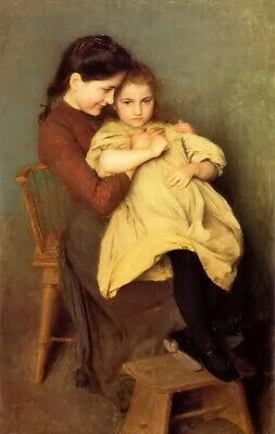 Oil painting emile friant - sorrow child young mother with little girl canvas