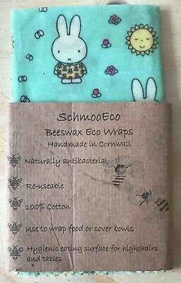 Beeswax Wrap, Sandwich Packed Lunch Eco Reuseable MIFFY Bees Wax Antibacterial