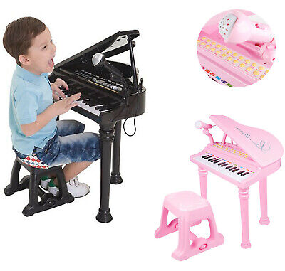 Kids Electronic Grand Piano Musical Instrument Keyboard Toy Microphone & Stool