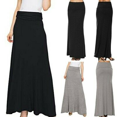 Sexy Fashion Women Pure Color High Waist Long Skirt Casual Ankle-Length Skirts