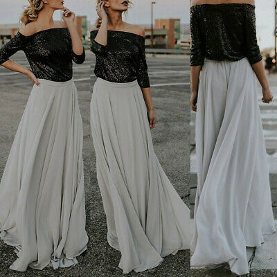 Fashion Women High Waist Chiffon Skater Flared Pleated Swing Long Skirt Dress