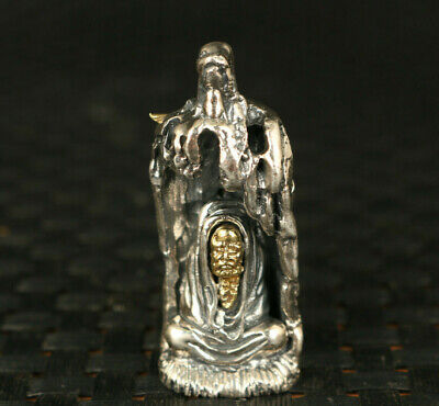 100% 925 silver hand carved Bodhidharma statue pendant