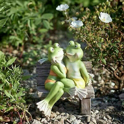 Fromance Frogs On Bench Garden Pond Decking Lawn Ornament Romantic Couple