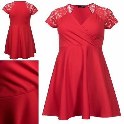 RRP £34 Quiz Curve Red Lace Sleeve Wrapover Skater Dress                   (B32)