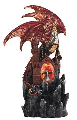 Red Dragon on Castle with LED Light up Wizard Medieval Fantasy Figurine New