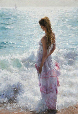 LMOP642 beautiful lady seaside seascape hand painted art oil painting on canvas