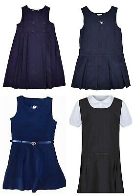 Girls School Navy Blue School Pinafores Choice of Designs (Ages 4-13)  Exstore